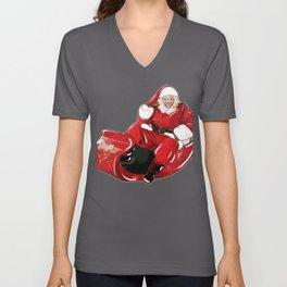 Christmas Santa Claus in Sleigh Unisex V-Neck