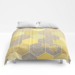 Lemon & Grey Honeycomb Comforters