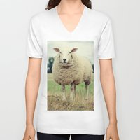 sheep V-neck T-shirts featuring Sheep by Falko Follert Art-FF77