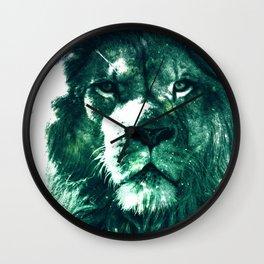 Galaxy Lion Mint Emerald Green Wall Clock