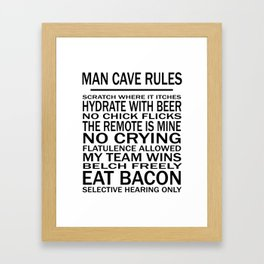 Man Cave Rules for Man Cave or Office Framed Art Print