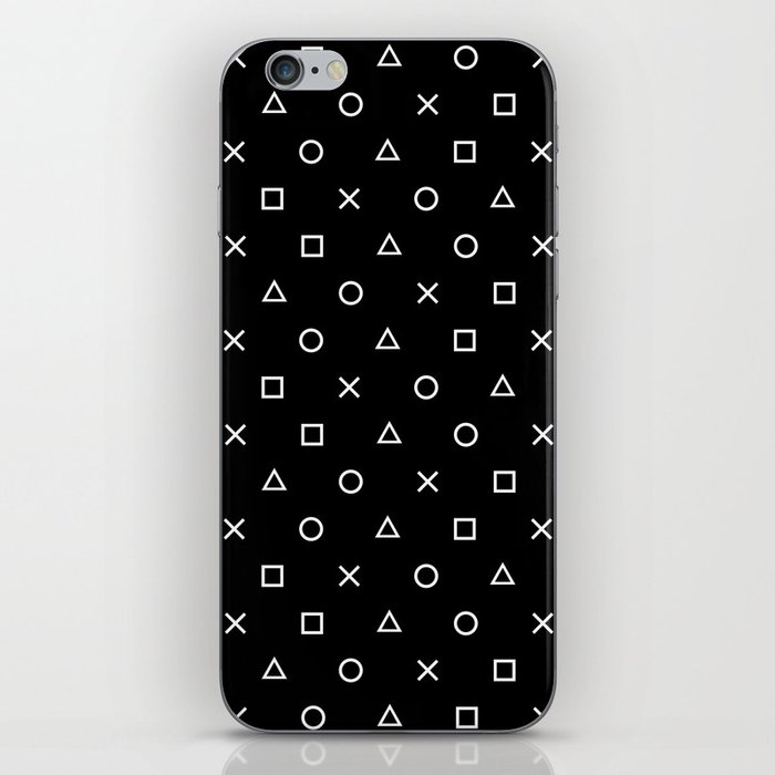 Gamer Pattern (White on Black) iPhone Skin
