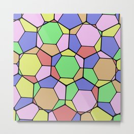 Stained Glass Tortoise Shell - Geometric, pastel, hexagon patterned artwork Metal Print