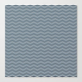 Midnight Blue and White Christmas Wavy Chevron Stripes Canvas Print