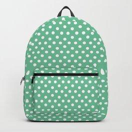 Green white modern geometrical polka dots motif Backpack