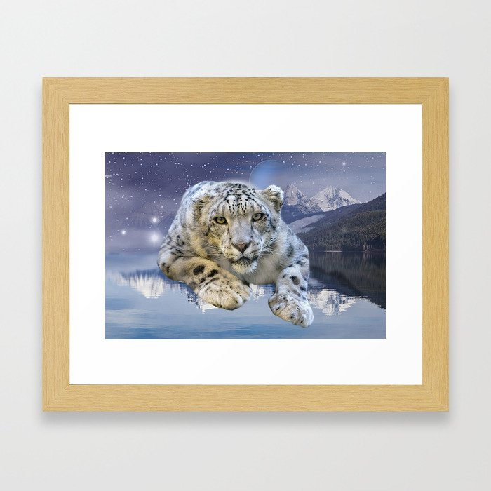 Snow Leopard and Moon Framed Art Print