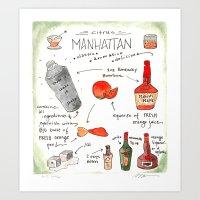 Artisan Cocktail Recipe Print - Manhattan Art Print