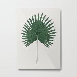 Fan Palm Leaf Illustration Metal Print