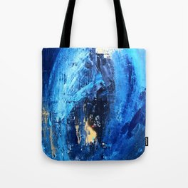 Vortex: a vibrant, blue and gold abstract mixed-media piece Tote Bag