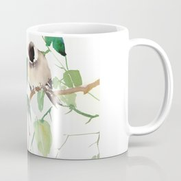 Chickadees, birds on tree, bird design neutral colors Coffee Mug
