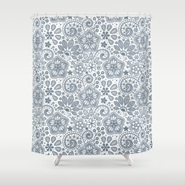 Foral in Slate Shower Curtain