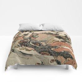 Hokusai, Aspara and the flute – musician manga, japan,hokusai,japanese,北斎,ミュージシャン Comforters