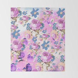 ROSES GIRLY PINK PURPLE AND BLUE FLOWER PATTERN Throw Blanket