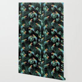 Parrots in the Tropical Jungle Night #2 #tropical #decor #art #society6 Wallpaper