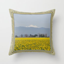 DAFFODIL FIELD AND MOUNT BAKER IN THE SKAGIT VALLEY  Throw Pillow