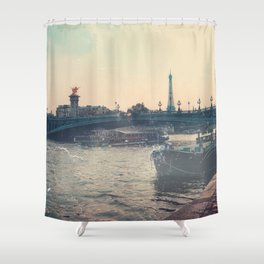 The Seine and Eiffel Tower, Vintage Styled Shower Curtain