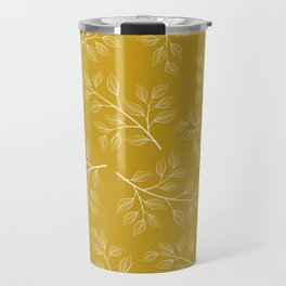 White Branch and Leaves on Mustard Yellow Travel Mug