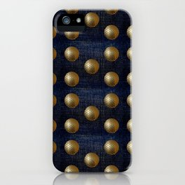 GOLD GOLFBALLS ON DENIM iPhone Case