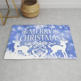 Merry Christmas Reindeers Blue Holiday Festive Rug