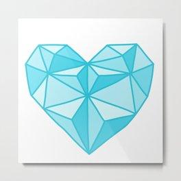 Geometric Diamond Heart - Topaz Metal Print