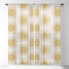Golden Sun Pattern Sheer Curtain
