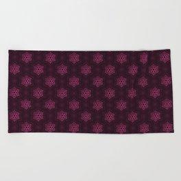 Festive Pink Snowflake Pattern Beach Towel