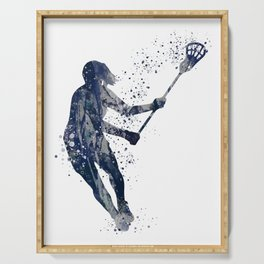 Girl Lacrosse Navy Blue Colorful Watercolor Sports Art Serving Tray