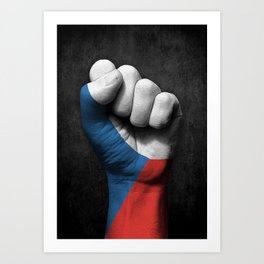 Czech Flag on a Raised Clenched Fist Art Print