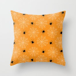 Halloween Spider Web Seamless Pattern Throw Pillow