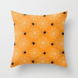 Halloween Spider Web Seamless Pattern Throw Pillow