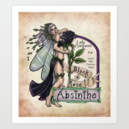 Black Rose Absinthe by Bobbie Berendson W Art Print