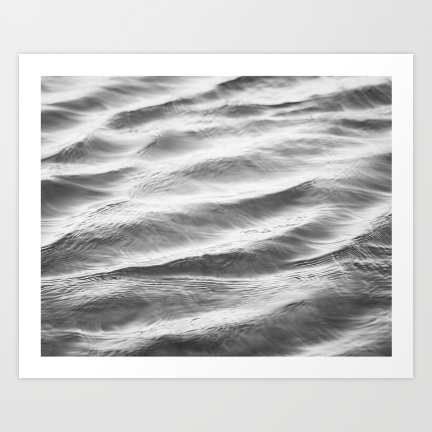 Black and white water ripple photography grey ocean ripples gray neutral sea waves seascape wave art print