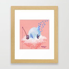 Penguins Fishing and Making Music on Their Floating Island Igloo Home Framed Art Print