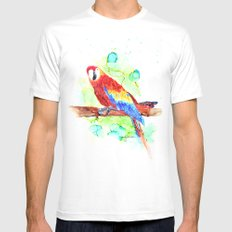 Watercolored Parrot Mens Fitted Tee White MEDIUM