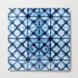 Shibori Paper Blues Metal Print