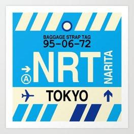 NRT Tokyo (Narita) • Airport Code and Vintage Baggage Tag Design Art Print