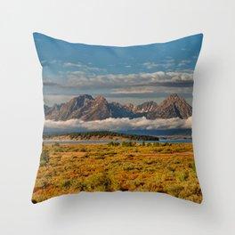 TheGrand Teton National Park in the Fall Panorama Throw Pillow
