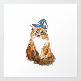 Maine Coon Cat Wizard Art Print