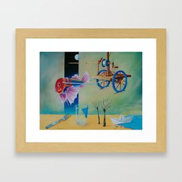 Fish does not pull wagon - Surrealism Framed Art Print