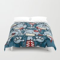 zombies Duvet Covers featuring The Zombies by Yves-José Malgorn