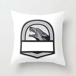 German Shepherd Head Angry Crest Retro Throw Pillow