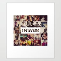 ashton irwin Art Prints featuring Irwin Ashton // Collage by Fan_Girl_Designs