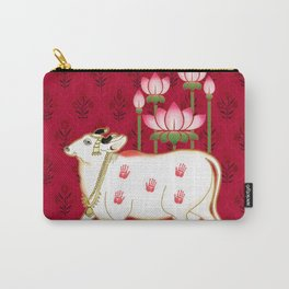 HOLY COW - Indian Pichwai Art Crimson Pink  Carry-All Pouch