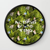 nordic Wall Clocks featuring Nordic Tropic  by Nothing Can Go Wrng