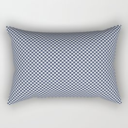 Dark Sargasso Blue and White Mini Check 2018 Color Trends Rectangular Pillow