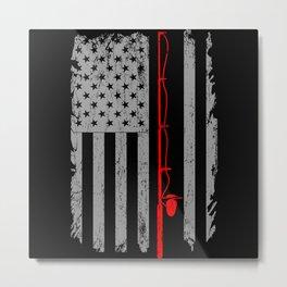 American US Flag Fishing Rod Fishing Angler Metal Print