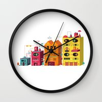 buildings Wall Clocks featuring Buildings by Luis Pinto