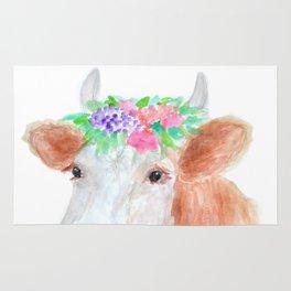 Flower Crown Cow Rug