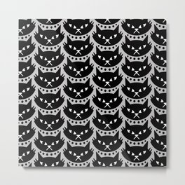 Mid Century Modern Cat Black & Grey Metal Print