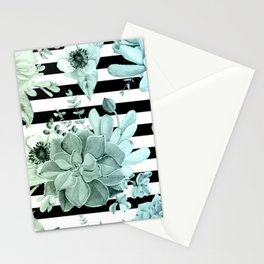 Succulents in the Garden Teal Blue Green Gradient with Black Stripes Stationery Cards
